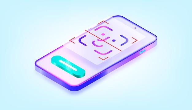 Online gezichts-id-scanner voor mobiele apps. biometrische technologie voor herkenning. 3d verloop illustratie.