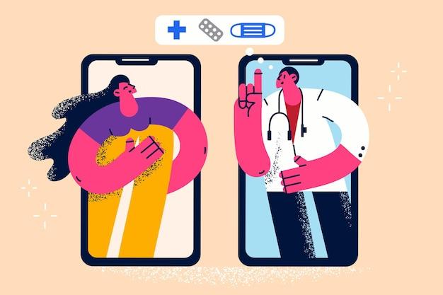 Online gezondheidszorg en geneeskundeconcept
