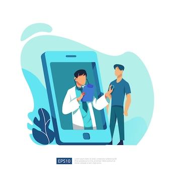 Online gezondheidszorg en medisch advies. bel en chat diagnostisch ondersteuningsconcept voor artsen. sjabloon voor webbestemmingspagina, banner, presentatie, sociaal, poster, advertentie, promotie of gedrukte media