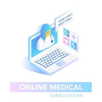 Online gezondheidszorg isometrische concept. medisch consult, diagnostische toepassing op computer. moderne medische technologie met arts. vector illustratie
