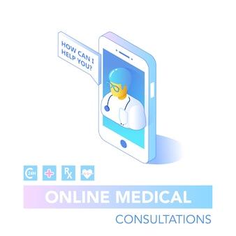 Online gezondheidszorg isometrische concept. medisch consult, diagnostische toepassing op computer, tablet, smartphone. moderne medische technologie met arts. vector illustratie