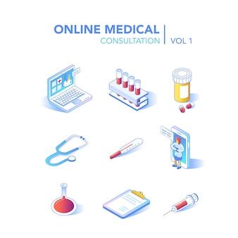 Online gezondheidszorg isometrische concept. medisch consult, diagnostische toepassing op computer, tablet, smartphone. moderne technologie met arts en medische apparatuur. vector illustratie