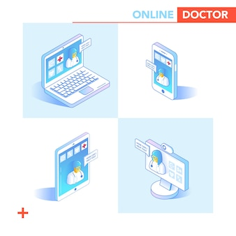 Online gezondheidszorg isometrische concept. medisch consult, diagnostische toepassing op smartphone, computer. moderne medische technologie met arts en patiënt. vector illustratie
