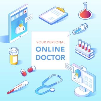 Online gezondheidszorg isometrische concept. medisch consult, diagnostische toepassing op smartphone, computer. moderne technologie met arts en medische apparatuur. vector illustratie