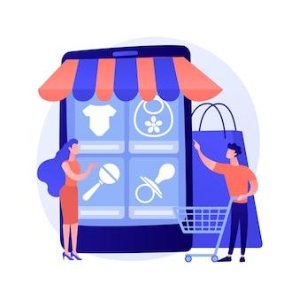 Online goederen bestellen. internetwinkel, online winkelen, niche-e-commercewebsite. moeder koopt babykleding, schoenen en speelgoed, babyaccessoires.