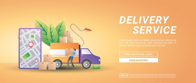 Online goederenbezorgdiensten. levering aan huis en op kantoor, gratis levering en snelle levering.