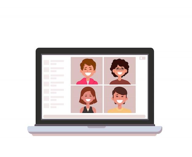 Online groeps videoconferentie op laptop.