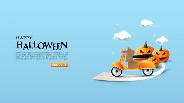 Online halloween shopping banner met illustraties van motoren en itemboxen.