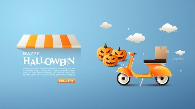 Online halloween winkelen banner met pompoen en vespa illustraties.