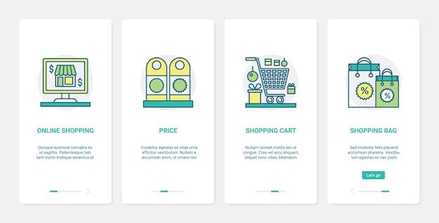 Online handel, internetwinkeltechnologie. ux, ui onboarding mobiele app-set boodschappentas en kar van supermarkt of supermarkt, prijs e-commercesymbolen