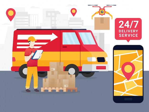 Online het volgen van de verplaatsing van pakketten in een smartphone