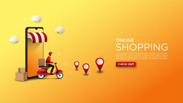 Online het winkelen achtergrondillustratie van levering van goederen op een motorfiets