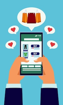 Online het winkelen technologie met handen die smartphone en zakkenillustratie gebruiken