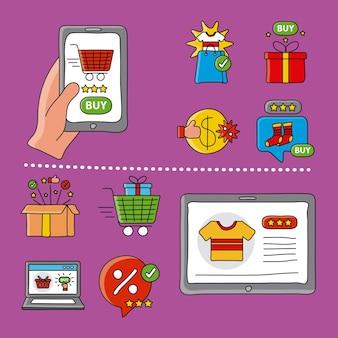 Online het winkelen technologie met smartphone en tablet vastgestelde pictogrammenillustratie