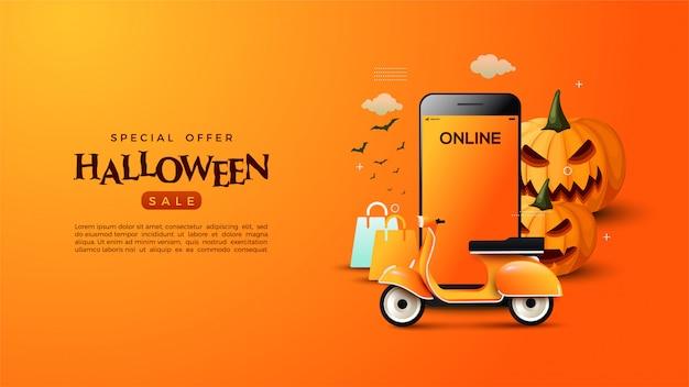 Online het winkelen van halloween banner met illustraties van het verschepen van goederen.