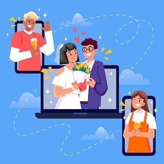 Online huwelijksceremonie illustratie