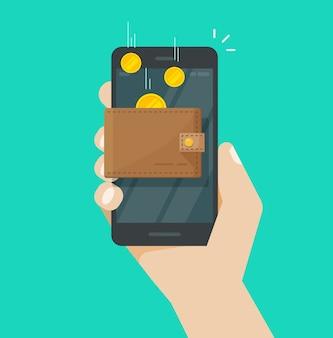 Online inkomen geld in platte portemonnee cartoon mobiele telefoon