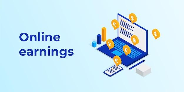 Online inkomsten laptop in isometrie illustratie