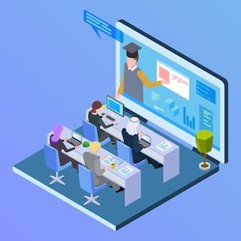 Online internationaal onderwijs isometrisch concept