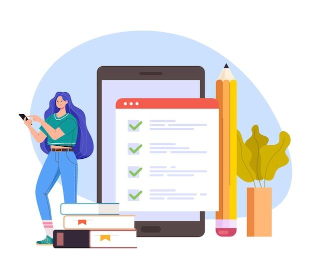 Online internet testen concept plat