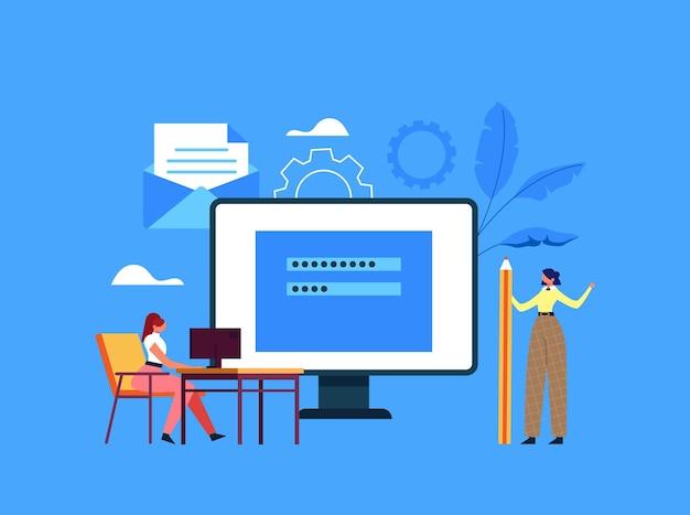 Online internet website login wachtwoord registratie voer gebruikersaccount concept in.