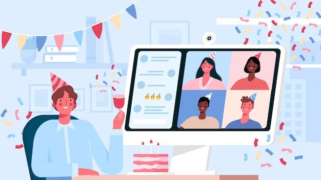 Online internetfeest, verjaardag, vrienden ontmoeten. verjaardagsfeest in quarantainemodus.