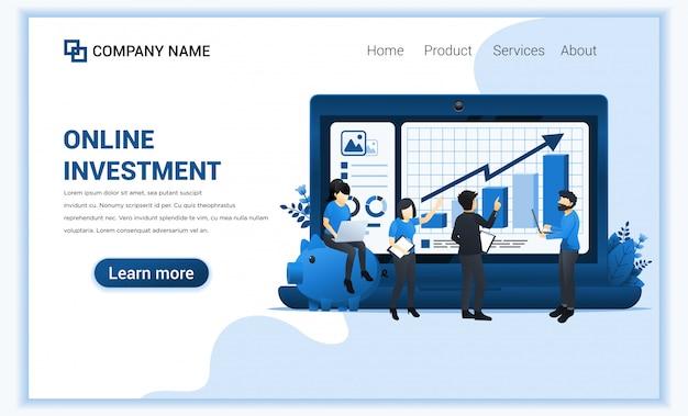 Online investeringsconcept met mensen werken op laptop, bedrijfsinvesteringen, financiële technologie.