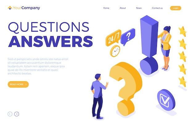 Online isometrische bestemmingspagina voor klantenondersteuning