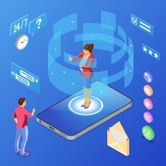 Online isometrische klantenondersteuningsconcept. mobiel callcenter met vrouwelijke adviseur, headset, beoordeling, chatpictogrammen, mobiele telefoon. geïsoleerd