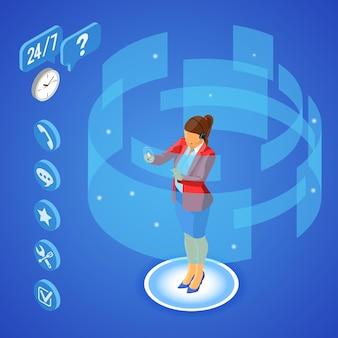 Online isometrische klantenondersteuningsconcept. mobiel callcenter met vrouwelijke adviseur, headset, beoordeling, chatpictogrammen.
