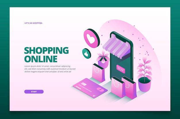 Online isometrische sjabloon bestemmingspagina winkelen