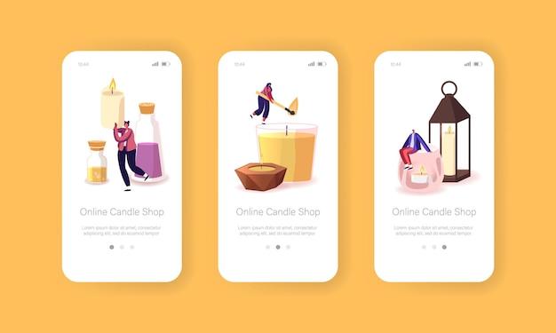 Online kaarsenwinkel mobiele app-pagina onboard-schermsjabloon