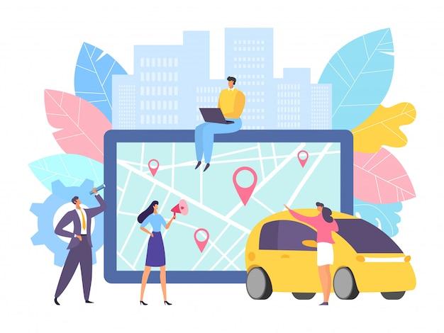 Online kaartnavigatie voor auto bij grote tablet, illustratie. mensen uit het bedrijfsleven in de buurt van apparaat met transporttoepassing
