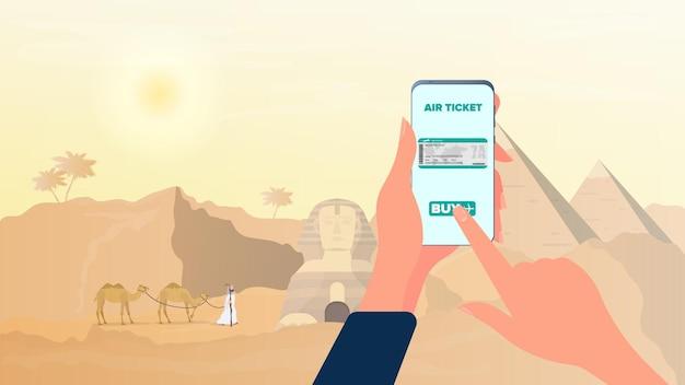 Online kaartverkoop naar egypte. een kaartje kopen via een smartphone.