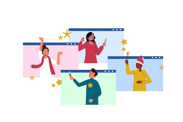 Online kerstkarakters en sterren