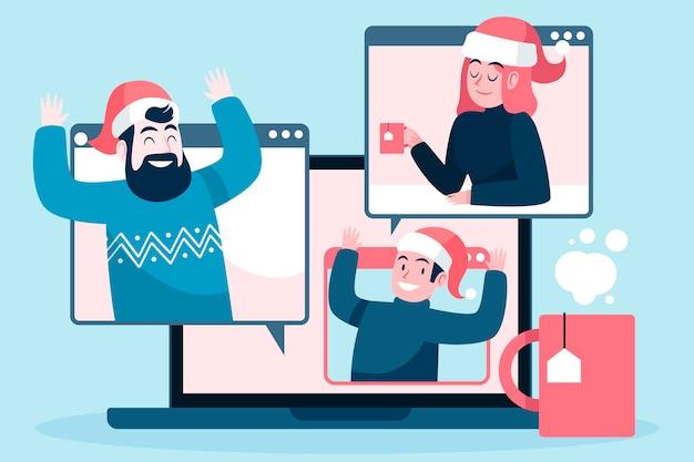 Online kerstviering illustratie