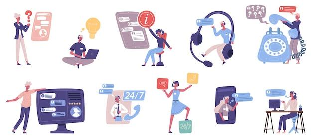 Online klant technische ondersteuning persoonlijke assistent service. call center adviesdiensten, online hotline agenten vector illustratie set. klantenondersteuning persoon adviseurs
