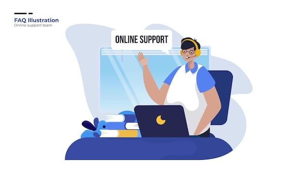 Online klantenondersteuning zorg illustratie