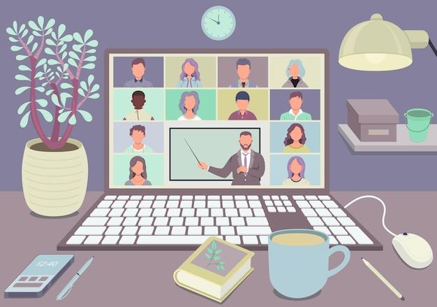Online klas. leerlingen of studenten die thuis met de computer studeren. afstandsonderwijs.