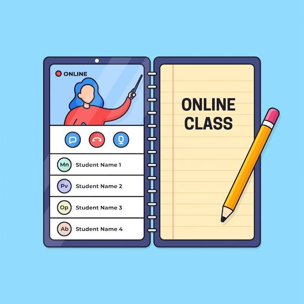 Online klas onderwijs op afstand live video-oproepactiviteit van slimme telefoon met papieren notitie en potloodomtrekillustratie.