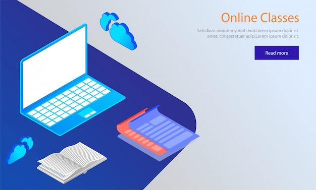 Online klassen concept gebaseerd websjabloon ontwerp.