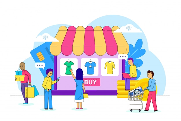 Online kleren die op internet, illustratie winkelen. netwerkverkoopbetaling, marktconsument kiest kledingstuk. kledingwinkel
