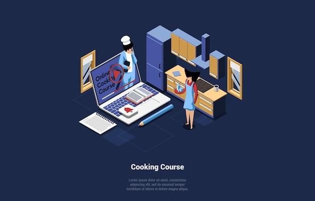 Online kookcursus conceptuele illustratie.