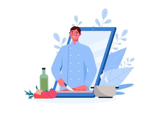 Online kookschool. chef leert koken. video uitleg. online onderwijs, food blog, kanaal.