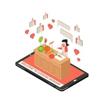Online kookschool isometrische illustratie met 3d-gadget en vrouw