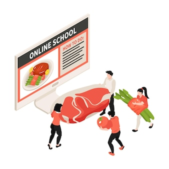 Online kookschool isometrische illustratie met computer en karakters die voedsel dragen