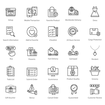Online kopen, commerce line pictogram
