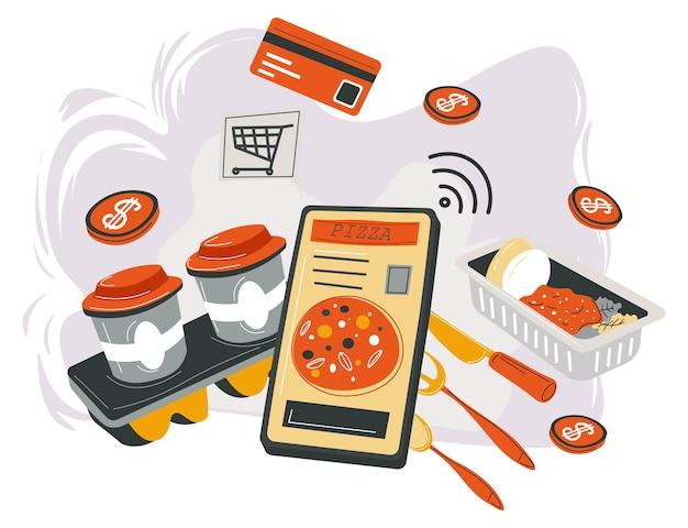 Online kopen van voedselbezorging op tijd vector