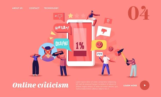 Online kritiek, landingspaginasjabloon voor intimidatie van sociale netwerken. personages pesten in smartphone die het slachtoffer lastigvalt en intimideert. cyberpesten, overstromingen. cartoon mensen vectorillustratie