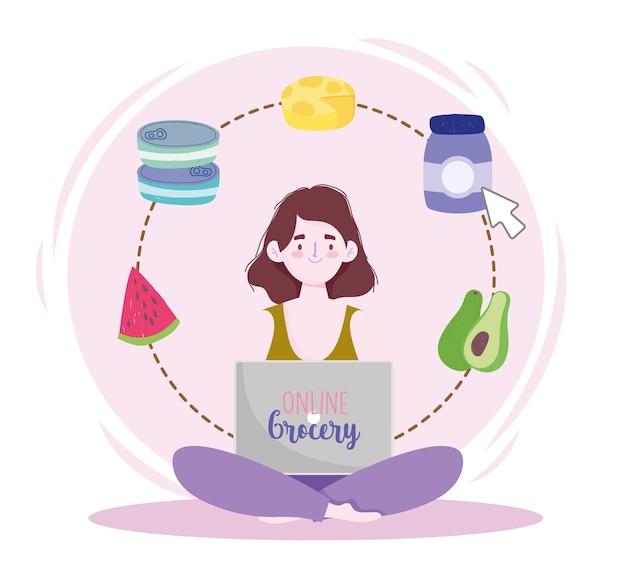 Online kruidenierswinkel vrouw